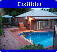 Our  facilities include in-house movies, internet, tv, phones, mini-bar.  Also solar heated swimming pool, bbq in garden courtyard, fax and email service, room service, dry cleaning.