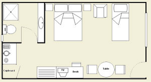 Twin Room layout of Motel Room
